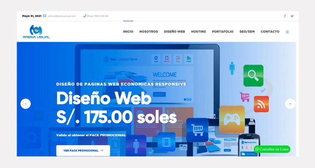 precio de diseño de páginas web en Perú